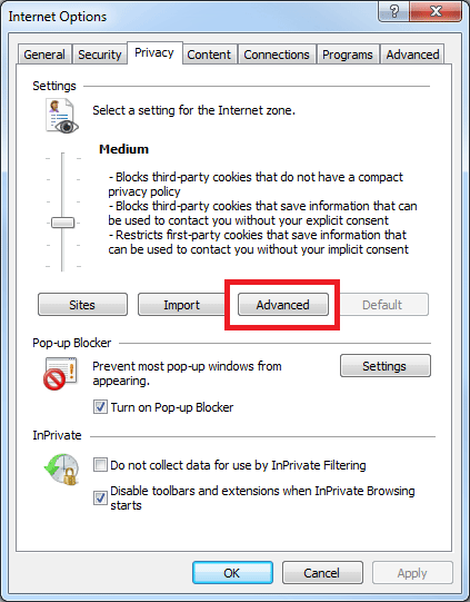 Enabling Cookies - Internet Explorer